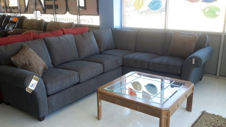 Comfortable Dark Grey Microfiber Sectional Sofa Cheap For Living Room Ideas  With Loose Boxed Back And Seat Cushions Also Using Pleated Armrests, ...