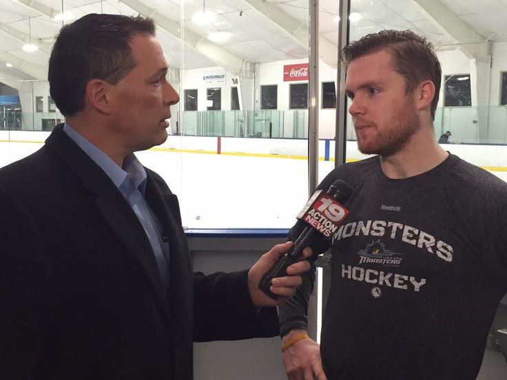 Tony Zarrella from 19 Action News WOIO  talking to @monstershockey goalie Calvin Pickard after practice this morning (March 2, 2015)
