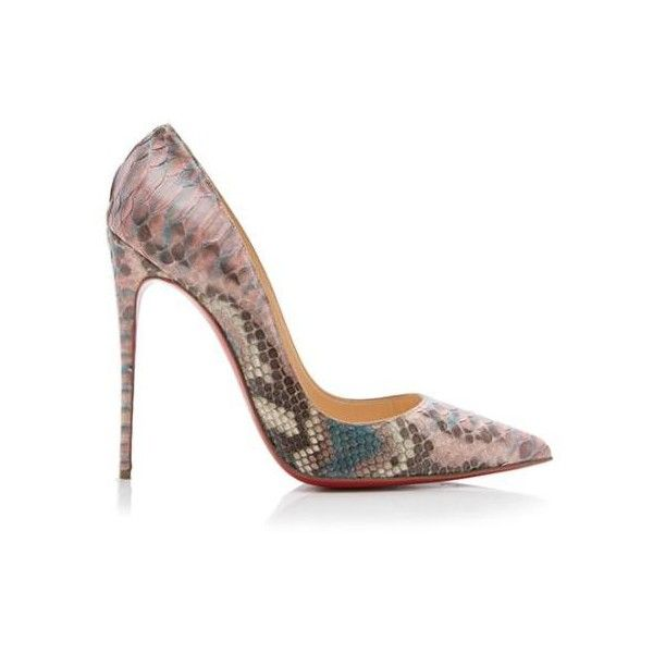 Pre-Owned Christian Louboutin Python So Kate Pumps ($590) ❤ liked on Polyvore featuring shoes, pumps, pink, christian louboutin pumps, python print shoes, red sole pumps, pink shoes and snake print pumps