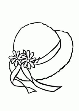 Summer Hat With Ribbons Coloring Page For Girls Printable