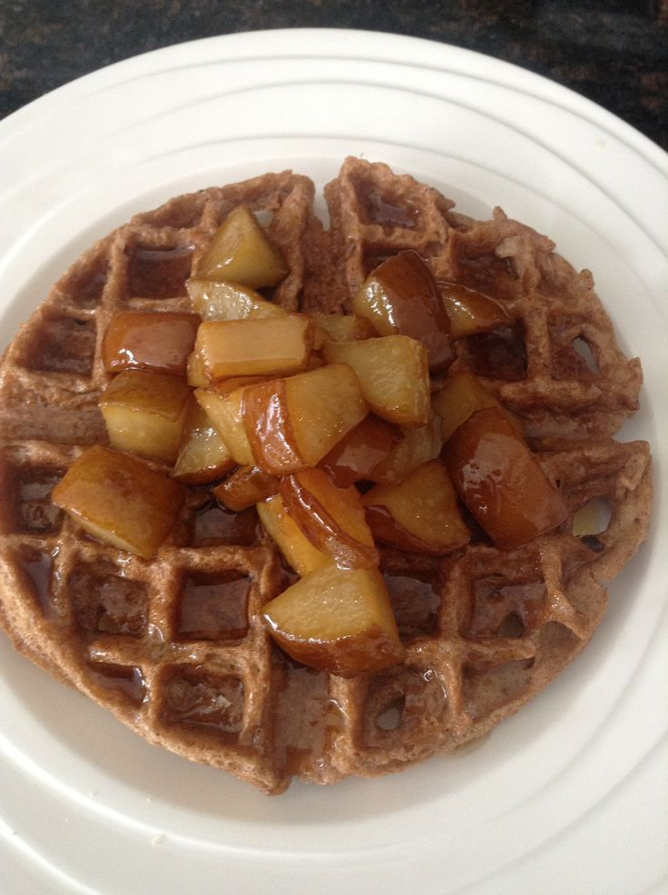Vegan funnel cake meets waffle with brandy 'honey butter' pears