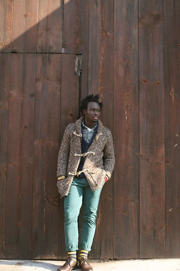 Get this look: http://lb.nu/look/4249571  More looks by STEVEN ONOJA: http://lb.nu/sonoja  Items in this look:  Rug And Bone Cardigan, Levi's® Shirt, Denim And Supplies Cardigan, Topman Pants, Happy Socks Sock, The Frye Company Shoe