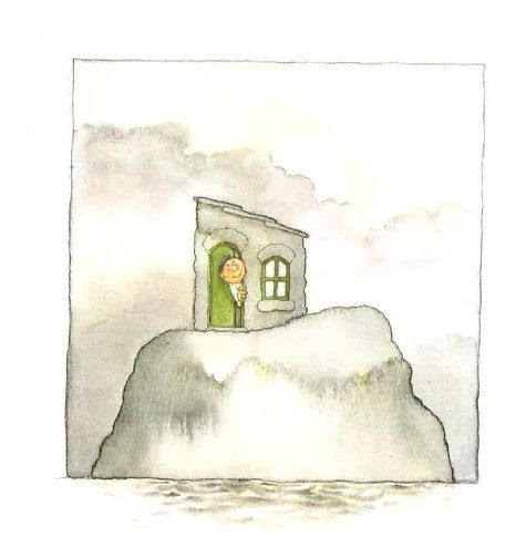 (Het huis op de rots - prent 6:) Maar de rots staat stevig. Wat verstandig van die man om zo'n goed plekje uit te kiezen.