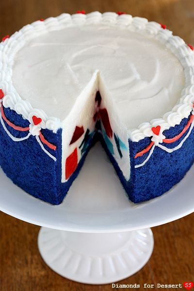 DIY Red white and blue surprise jello cake