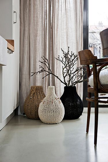 plus diy idea-- love the vases. and maybe some huge knitting needles are in order to make some floor cushions...