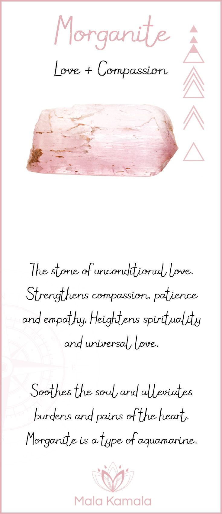 Pin To Save, Tap To Shop The Gem. What is the meaning and crystal and chakra healing properties of morganite? A stone for love and compassion. Mala Kamala Mala Beads - Malas, Mala Beads, Mala Bracelets, Tiny Intentions, Baby Necklaces, Yoga Jewelry, Medit