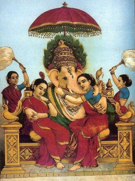 Ganesha with consorts Riddhi & Siddhi, Santoshi's parents