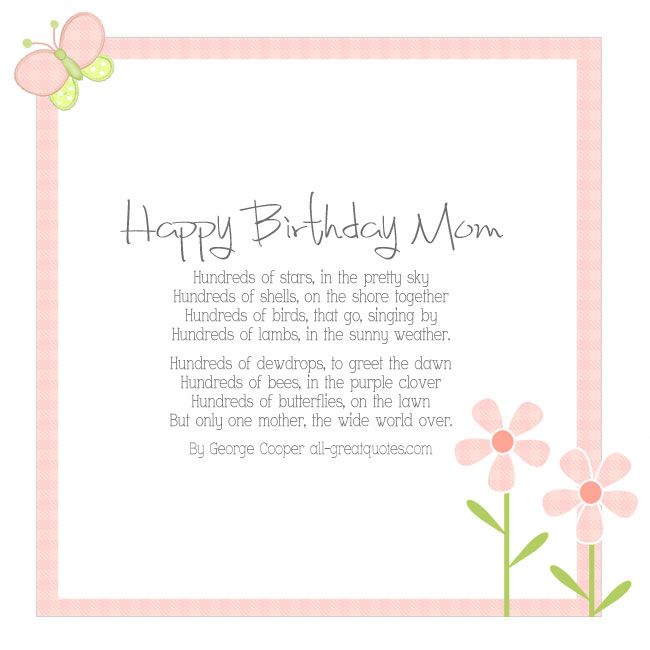 Happy Birthday Mom Card – By George Cooper