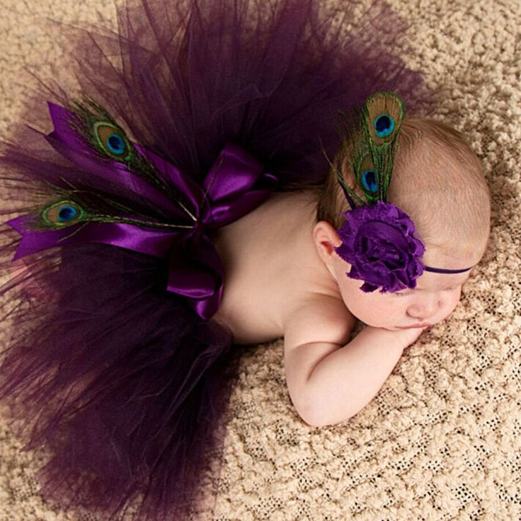 Princess Plum Peacock Feather Tutu Skirt with Vintage Headband Newborn Photograp…