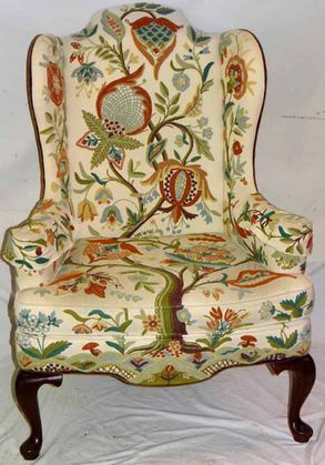 Queen Anne Wing Chair Tree of Life by WOODMARK Mary Webb Crewl Work