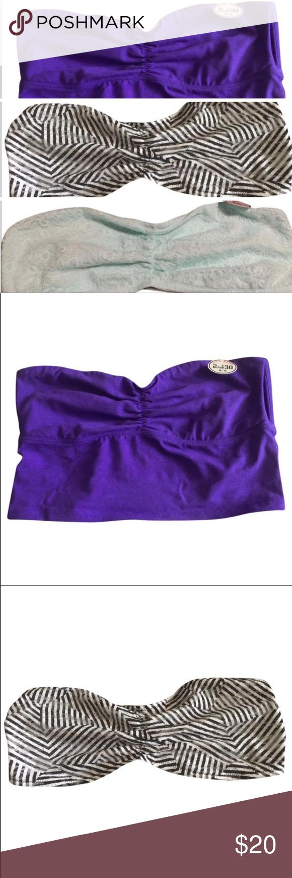 Victoria's Secret bandeaus-Medium NWRT. Listing is for all three size medium bandeau tops from Victoria's Secret. One purple, one black and white, and one mint.  Willing to separate. PINK Victoria's Secret Intimates & Sleepwear Bandeaus