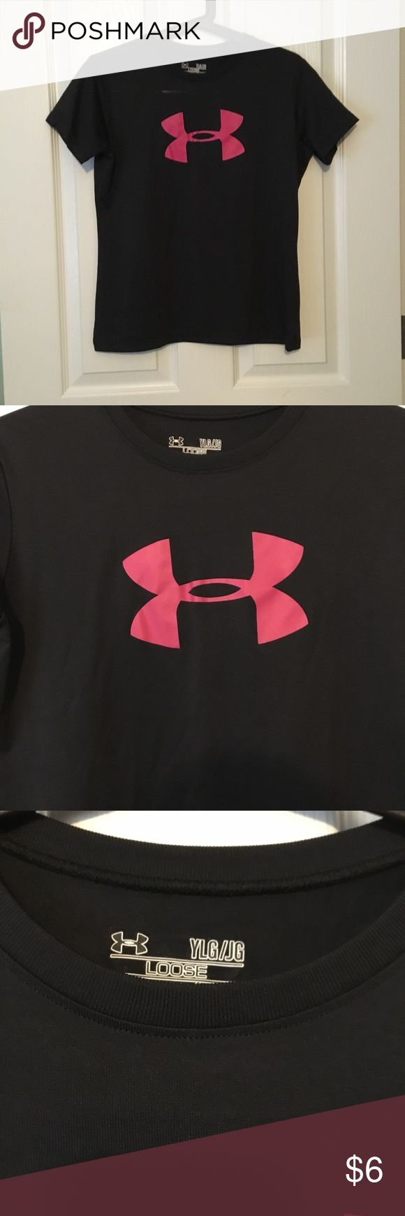 Under Armour T Shirt Black t shirt with pink logo. Under Armour Shirts & Tops Tees - Short Sleeve