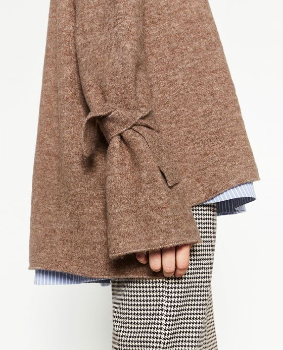 Image 4 of SWEATER WITH TIE DETAIL ON SLEEVE from Zara