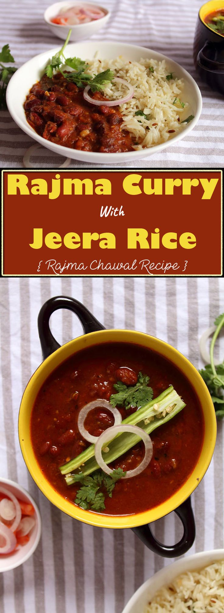 Rajma Curry With Jeera Rice OR Rajma Chawal Recipe – Red kidney beans curry spiced in tomato and onion puree with basmati rice tempered in roasted cumin. Rajma Curry with Jeera Rice is the soul north Indian speciality and you can find it in any north Indian restaurants all over the world.