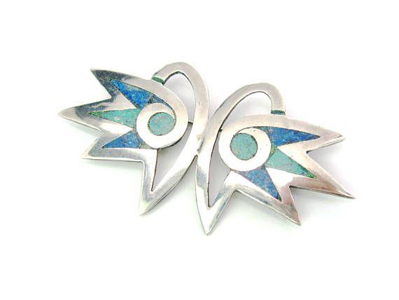 Owl Brooch. Inlaid Mosaic Bird Eyes Green Blue Stone Inlay.