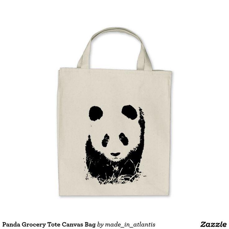 Panda Grocery Tote Canvas Bag