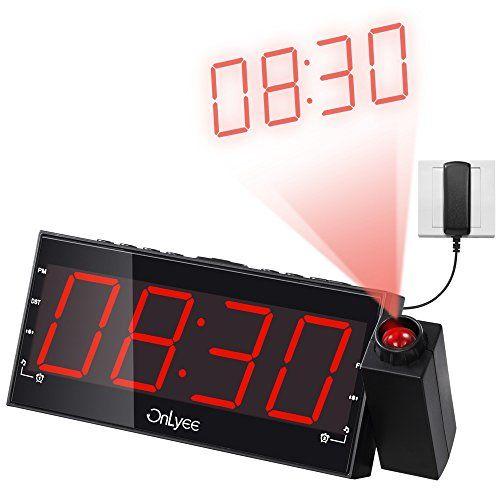 OnLyee 1.8 «LED Dimmable Projection Radio-réveil avec FM, Charge USB, Double alarme, Batterie de Secours, Minuterie De Sommeil, Fonction…