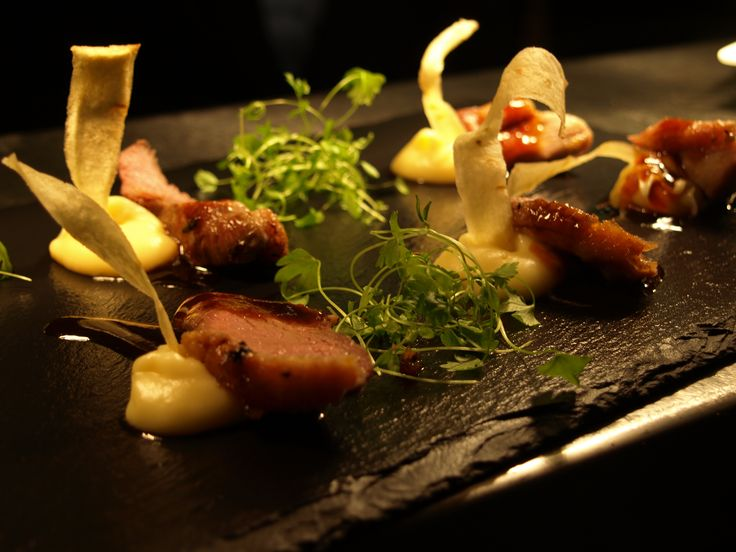 Roast Duck Breast with Parsnip and #TonkaBean Purée. A beautifully presented dish from the Bistro
