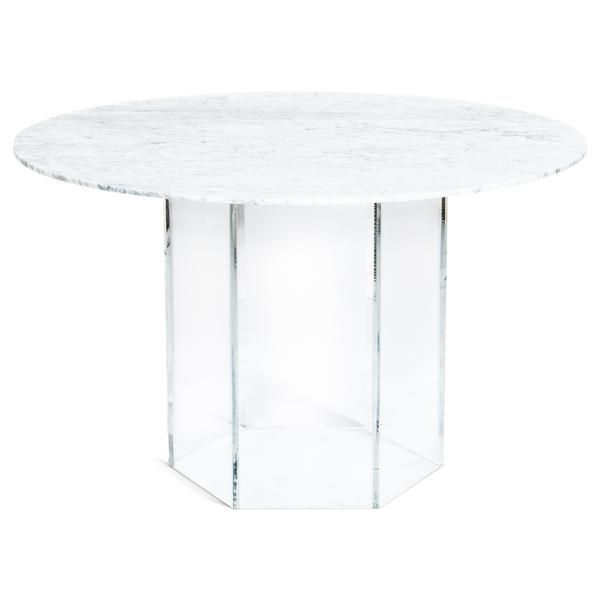 Iceland Dining Table With Hexagon Lucite Base Unique Dining
