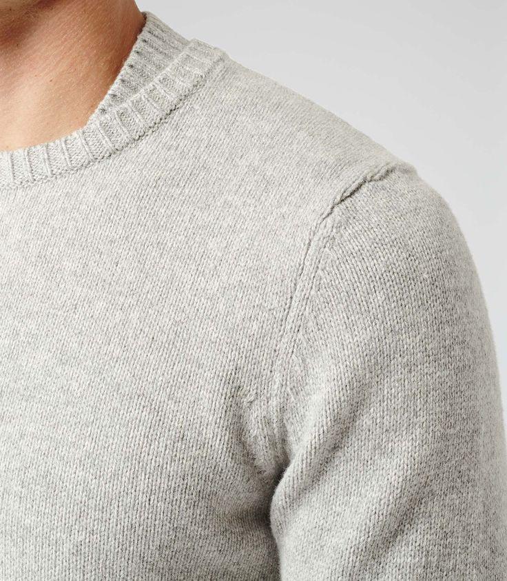 Mens Grey Collar Detail Jumper - Reiss Kenton Francy Kali