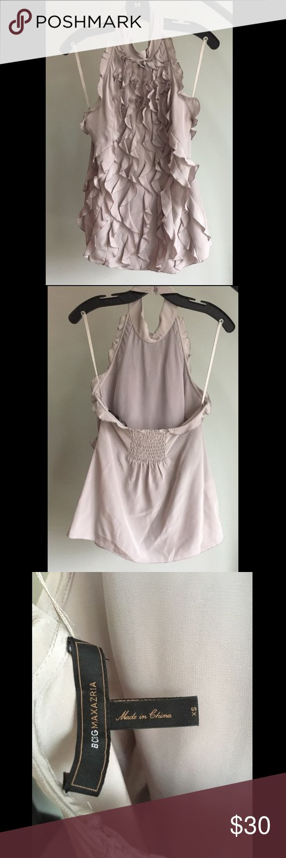 BCBG Ruffled Halter Top Beautiful and feminine, light grey, silk, tuxedo, halter top. Rock this backless top with a black suit for an easy day-to-night outfit. Also available in hot pink. BCBGMaxAzria Tops Blouses