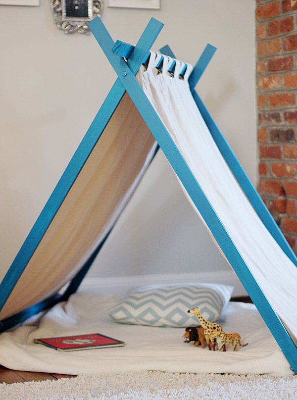 diy play tent, ana white, play tent, fort, toddler tent, reading nook, nook, building fort, kids tent, old curtains, play house Would Look so cute using branches or driftwood.