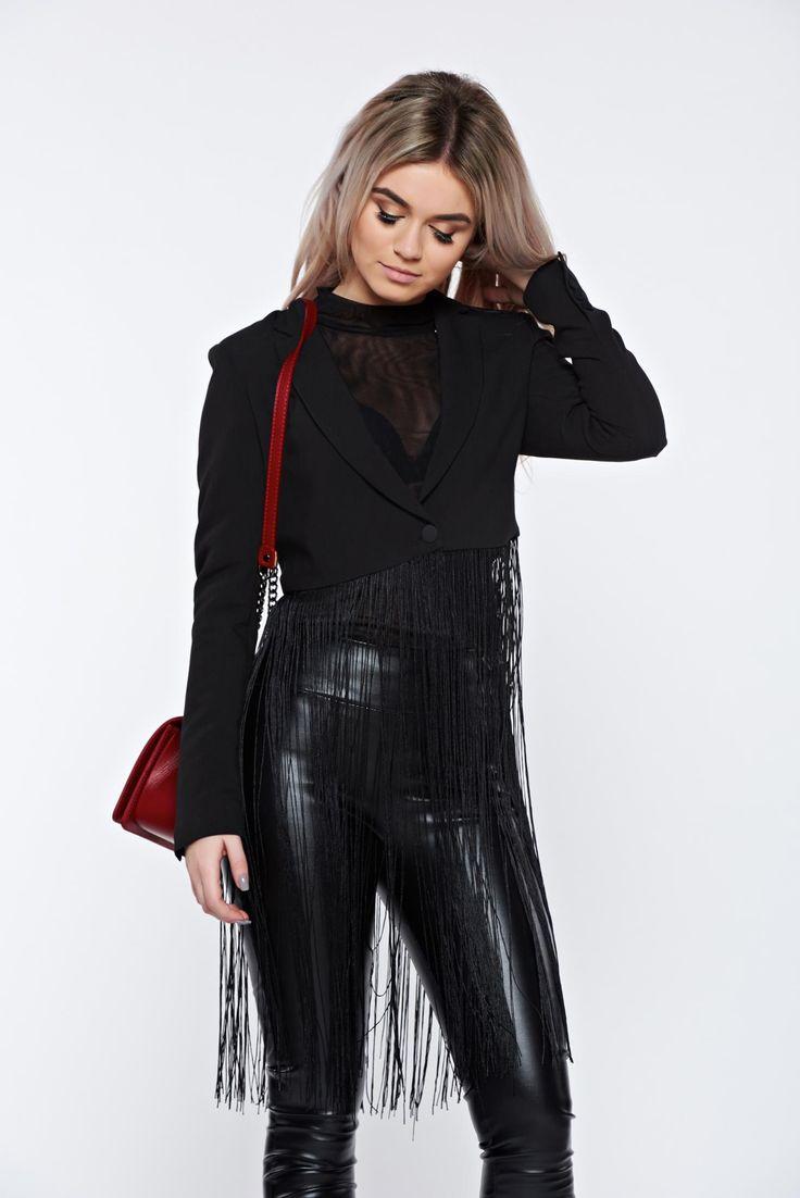 Top Secret black jacket clubbing short with fringes, has fringes