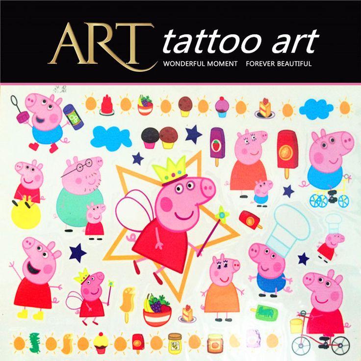새끼 돼지 가족 아이 임시 문신 바디 아트 플래시 문신 스티커 방수 헤나 문신 자동차 스타일링 벽 스티커