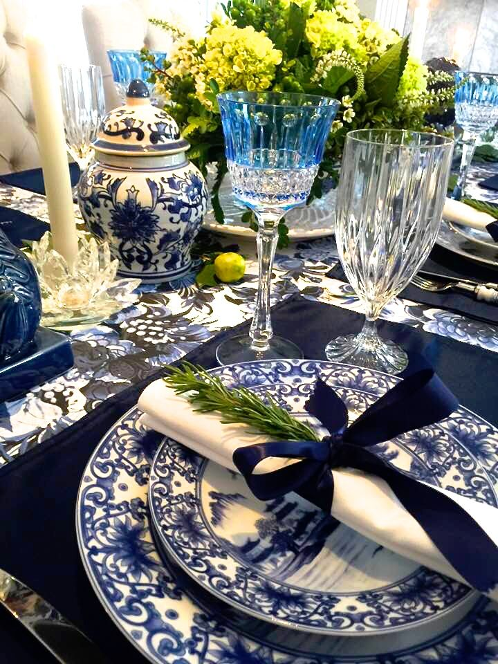 Giving Thanks In Blue White Blue Table Settings Dining Table