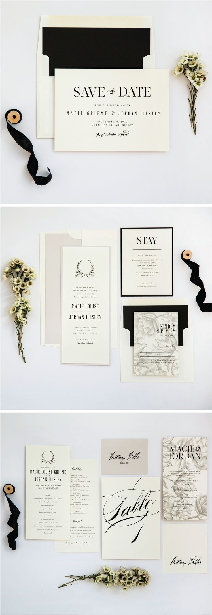 Ivory, Stone & Black Neutral Rustic Wedding Invitation Suite