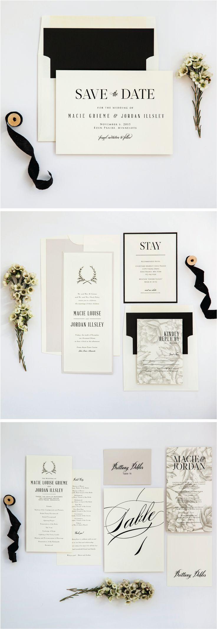 Ivory, Stone & Black Neutral Rustic Wedding Invitation Suite