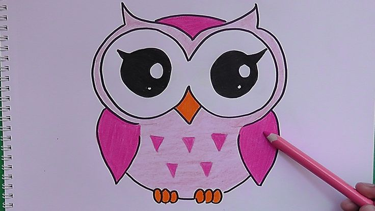 Dibujando y coloreando a Buho Rosado - Drawing and coloring Pink Owl
