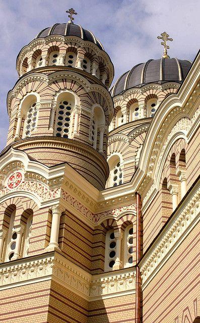 Russian Orthodox Church, Riga, Latvia. Travel in Latvia (EU) and learn fluent Russian with the Eurolingua Institute http://www.eurolingua.com/russian/russian-homestays-in-latvia