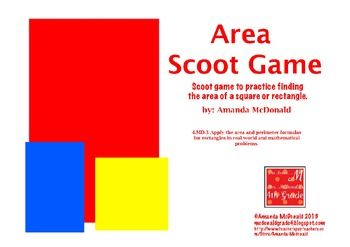Use this fun fast-paced game to review finding the area of squares and rectangles with your students. Includes recording sheet, 24 task cards, and answer sheet. Great for whole group review.  Correlates with Common Core Standards for 4th Grade:  4.MD.3 Apply the area and perimeter formulas for rectangles in real world and mathematical problems.