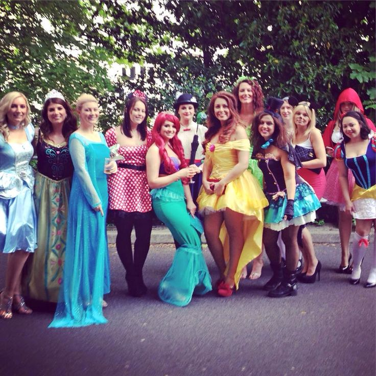 Walt Disney Hen Party Fancy Dress Bachelorette Costumes Princess Little Mermaid Belle Ariel Elsa Anna Frozen Snow White Mad Hatter Mary Poppins Mickey & Minnie Mouse Cinderella Little Red Riding Hood Alice in Wonderland Beauty & the Beast Tinkerbell