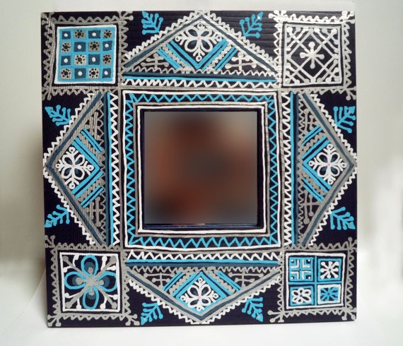 moroccan hand painted mirror decorated - Decorated Mirror
