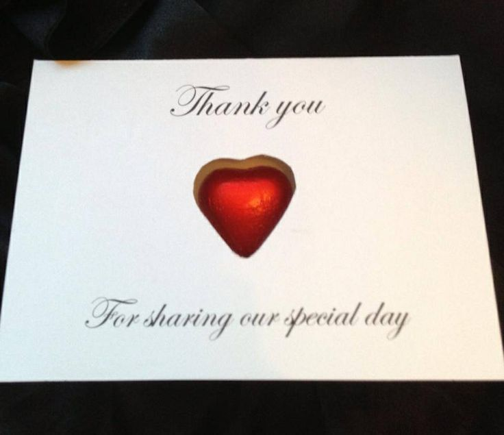 Thank you chocolate heart cards x great for a budget wedding x