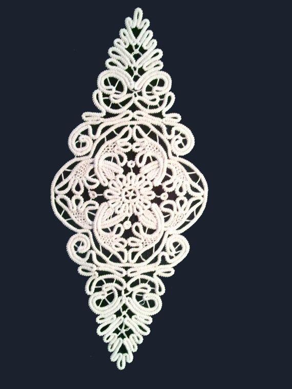 Doily Romanian Point Lace Style ECRU Beige Floral por ValeriasShop