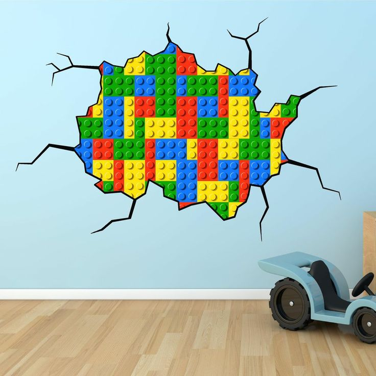 Lego bricks cracked wall full colour print wall art for Brick wall mural decal