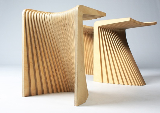Pleated seating, would work well with a nice plywood.