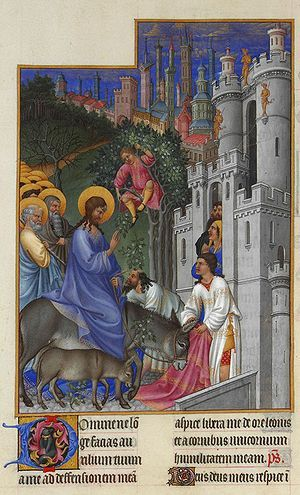 The entry of Jesus into Jerusalem on Palm Sunday marks the beginning of Holy Week.