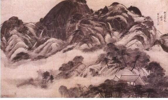 Inwangjesaekdo (or Clearing After Rain at Mt. Inwang; 인왕제색도; 仁王霽色圖, 1751)' is a landscape painting by Jeong Seon.