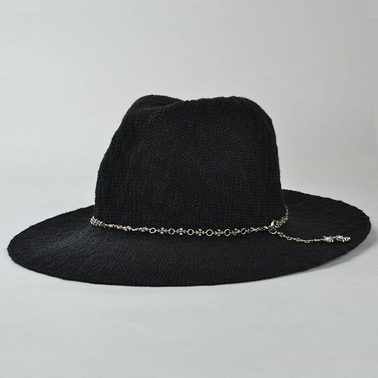 Punk Style Gothic Cross Chain Embellished Outdoor Women's Sun Hat - BLACK