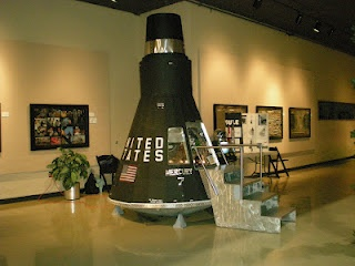 A lifesize mock-up of the Mercury Capsule. This capsule is shown at Boyscout events, the Oshkosh Air Museum during space week, and at schools.