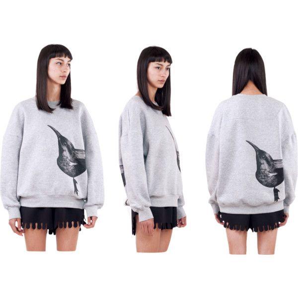 Birdie Sweatshirt | Ioana Ciolacu by ioanaciolacudotcom on Polyvore