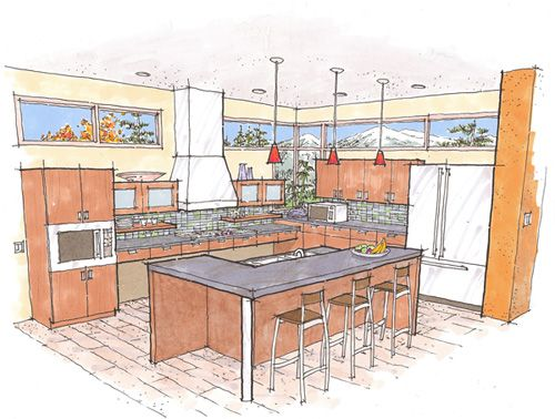 This Design Shows Lower Counter Tops For Prep, Cooking And Cleaning Up. Not  Also The Lowered Oven And A Refrigerator With Accessible Freezer On Bottom.