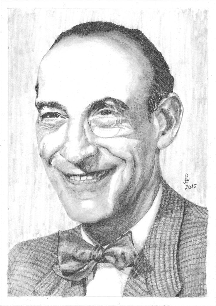 Pencil drawing portrait Latabár Kálmán by Erika Székesvári https://www.facebook.com/ercziart/