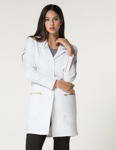 The Signature Lab Coat in White is a contemporary addition to women's medical…
