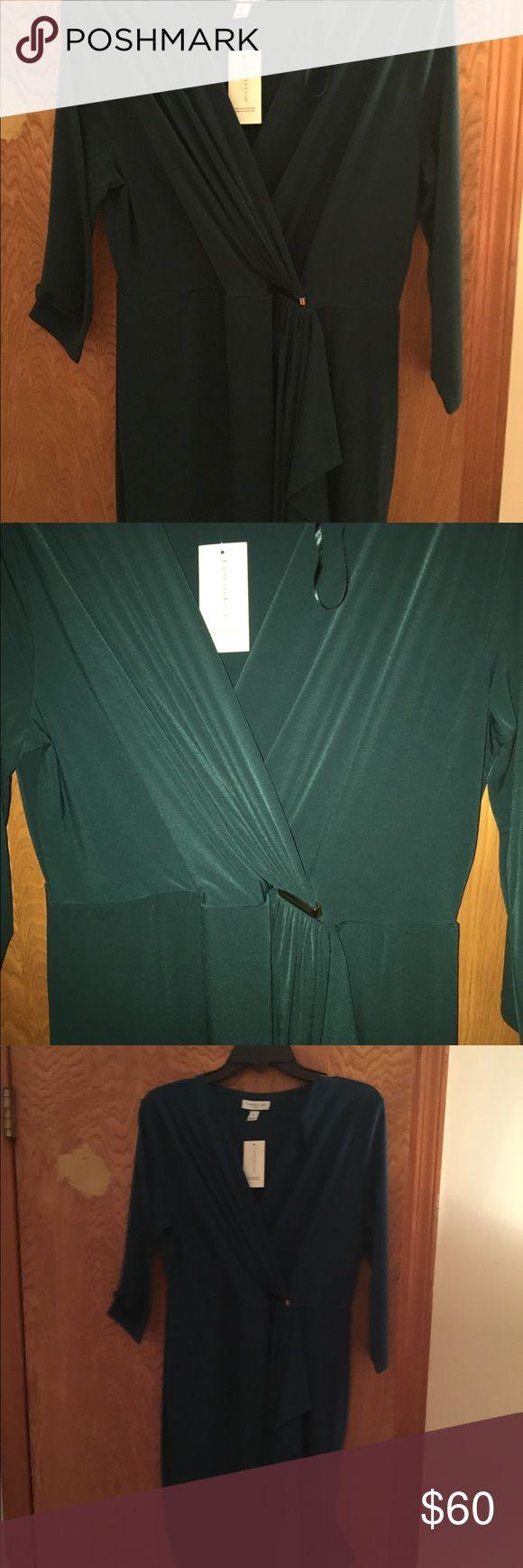 New Charter club dark green large petite dress Brand new Charter club dark green faux wrap large petite dress with tags Charter Club Dresses
