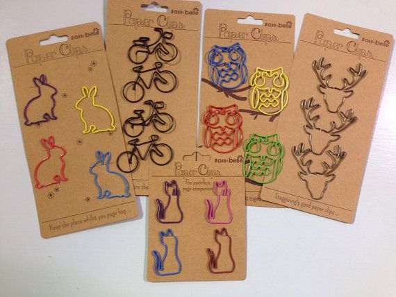 Shaped paper clips bike cat stag rabbit fix owl by YellowstoneAB, £1.95